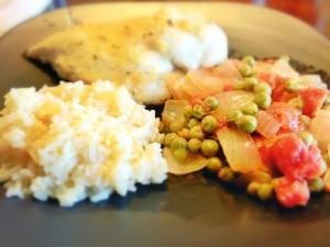 Lemon Chicken, Greek Rice, peas and tomatoes