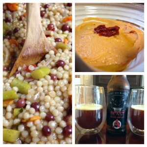 Couscous, red pepper and sundried tomato hummus, avery beast beer