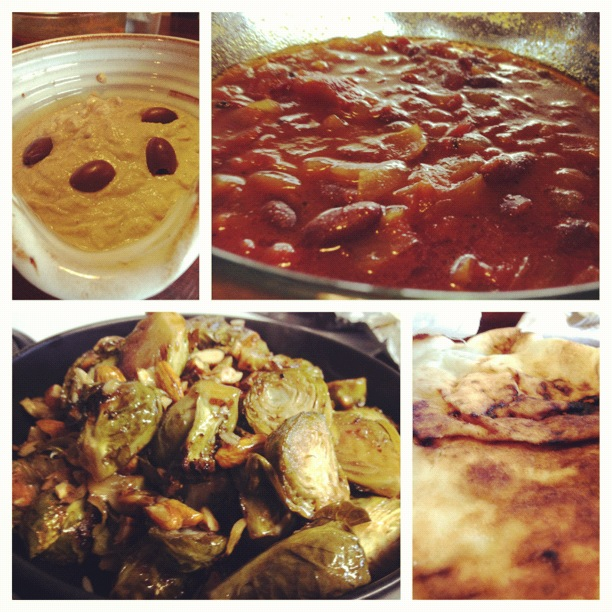 Curry, Hummus, brussel sprouts, naan, pita